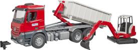 Bruder 03624 MB Arocs LKW mit Abrollcontainer u. Schaeff HR16 Minibagger