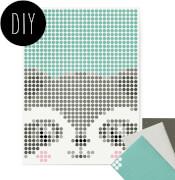 dot on art - DIY-Klebeposter, Bastelset, Stickerset - Motiv: Racoon, 30x40 cm